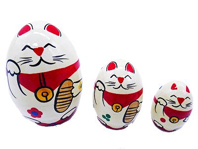 画像1: 招き猫(たまご型) (1)
